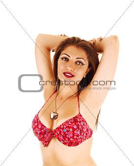Girl in bikini top.