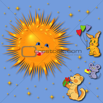 Animals Greeting A Sun