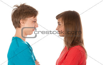 pair of teenagers looked at each other
