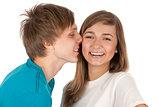 boy kisses a girl