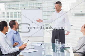 Smiling businessman giving presentation to his colleagues