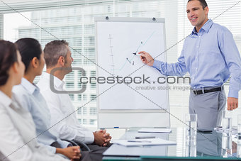 Businessman analyzing graph during presentation