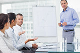 Businesswoman asking question during presentation