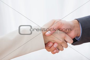 Close up on partners shaking hands