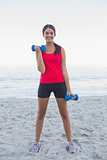 Sporty woman exercising with dumbbells