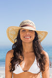 Attractive dark haired woman wearing straw hat posing