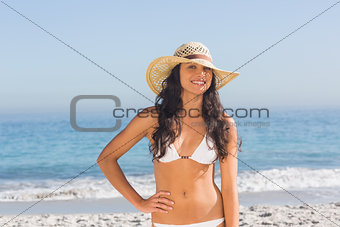 Cheerful attractive dark haired woman wearing straw hat posing