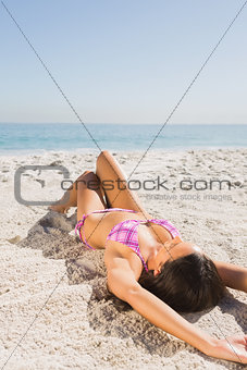 Sexy young woman in pink bikini sunbathing
