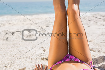 Close up of young womans legs