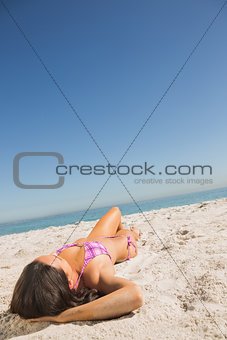 Beautiful young brunette sunbathing