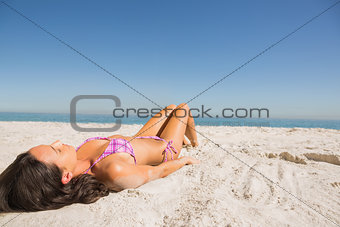 Beautiful young brunette in pink bikini sunbathing