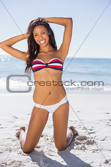 Young sexy woman taking sun