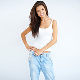 Natural brunette woman in jeans