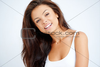 Close up portrait of brunette woman