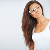 Portrait of brunette girl wearing glasses