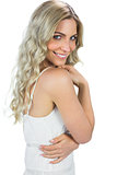 Content sensual blond woman smiling