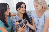 Cheerful friends enjoying red wine together