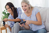 Friends playing video games and having fun