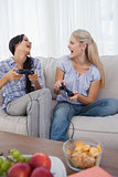 Happy friends playing video games