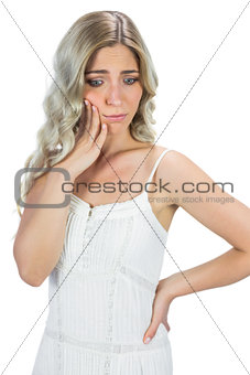 Anxious blond model thinking