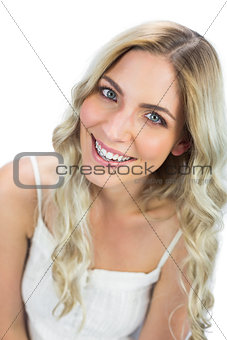 Attractive blue eyed model smiling