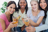 Friends toasting with white wine at the camera