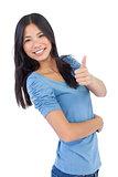 Happy asian woman giving thumb up at camera