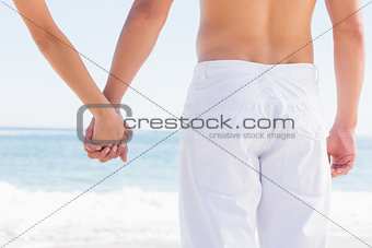 Rear view of couple holding hands looking at sea
