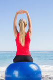 Fit blonde sitting on exercise ball looking at sea