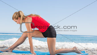 Fit blonde stretching leg on exercise mat