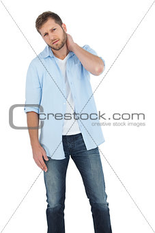 Attractive model having a sore neck