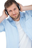 Cool trendy model listening to music