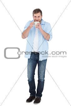 Casual model having coffee
