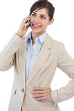 Cheerful businesswoman on the phone