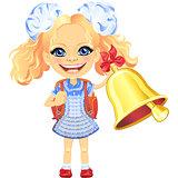 Vector smiling cute schoolgirl rings the bell