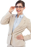 Smiling young businesswoman with glasses