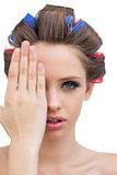 Model hiding her eye