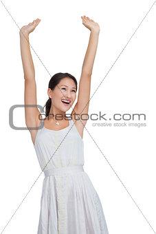 Beautiful woman cheering