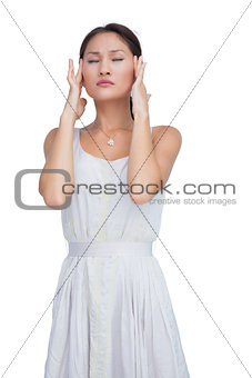 Concerned woman posing