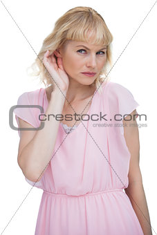 Attractive blond listening