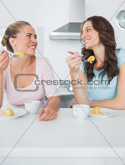 Knowing women eating cake and having coffee together