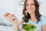 Brunette offering healthy salad