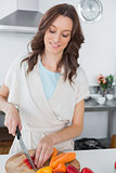 Pretty brunette cooking