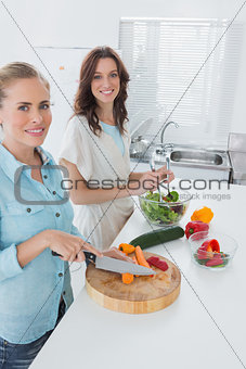 Women cooking together and looking at camera