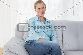 Blonde woman posing