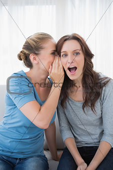 Astonished woman being told a secret by her friend