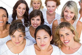 Positive models smiling at camera