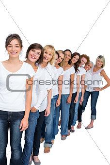 Casual models in a line looking at camera