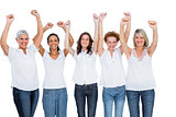 Smiling casual models posing with hands up