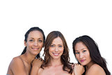 Natural nude women leaning on the center womans shoulders